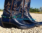 Western Cowgirl Boot Bracelet/Boot Jewelry/Boot Anklet-Hammered Silver, Turquoise Crosses. $13.50, via Etsy.