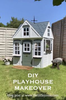 DIY Kid's Playhouse Makeover: A Step By Step Guide Garden Playhouse, Diy Playhouse, Playhouse Outdoor, Uk Summer, Outdoor Play Spaces, Scandi Home, Wooden Decor, Kids Prints, Exterior Paint