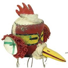 """Early/Mid 1900s, Rare painted leather and wood bird head headdress. Very good well used condition. Ex: Fenn Gallery, Santa Fe. 17"""" x 12"""" From the Watts collection., Sold 2700$"""