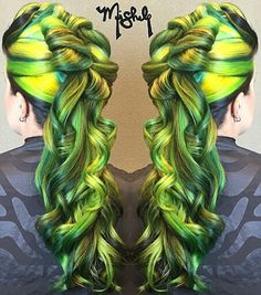 Green neon dyed hair color alternative hair