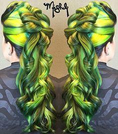 Green neon dyed hair color alternative hair