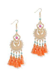 Beaded & Fringe Chandelier Earrings