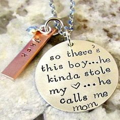 Buy Mother Son Hand Stamped Personalized Sterling Silver Mom Necklace - So There's This Boy, There are These Boys-Alex Ani by Lily Brooke Vintage on OpenSky Bling Bling, Just In Case, Just For You, Diy Accessoires, Call My Mom, Mother Son, Mother Daughters, Daddy Daughter, Thing 1