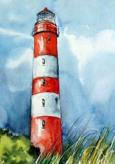 ANTJE HETTNER Aquarell watercolor Kunst Malerei Blumen ORIGINAL lighthouse landscape painting Watercolor Paintings For Beginners, Watercolor Landscape Paintings, Landscape Drawings, Easy Paintings, Easy Watercolor, Art Drawings, Lighthouse Painting, Small Canvas Art, Canvas Canvas