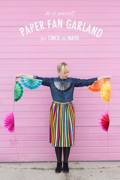 DIY Paper fan garland. Colorful, simple, and perfect for a cinco de mayo celebration!