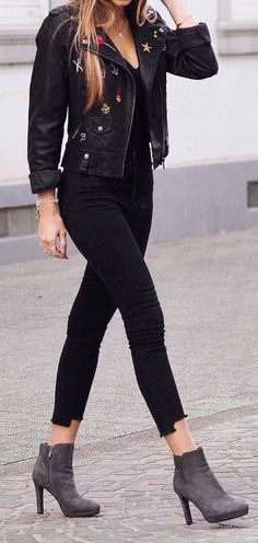 Leather Jacket // Black Top // Black Jeans // Suede Ankle Boots                                                                             Source