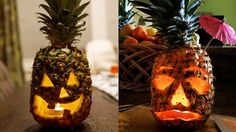 Mix it up this Halloween with a pineapple jack-o'-lantern