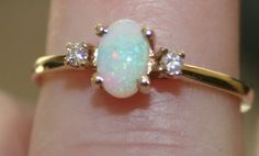 Vintage Opal and Diamond 14K Gold Ring by PineCottageVintage