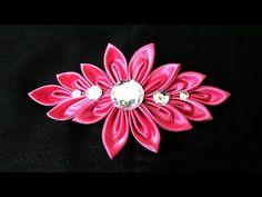 Kanzashi ponytail holder tutorial. DIY kanzashi flower. - YouTube