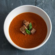 Chili Tomato & Basil Soup! Simple tomato soup with a little chilli kick - perfect for winter warming.