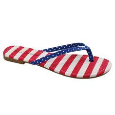 US American Flag Print Thong Sandals   Danice Stores