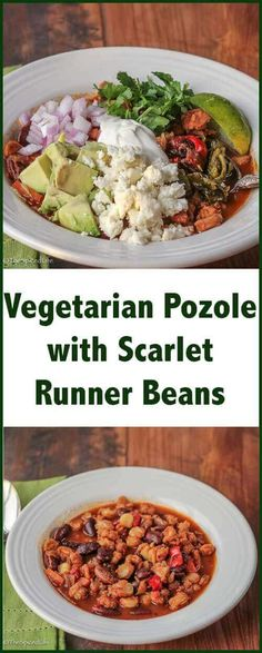 Vegetarian Pozole (or Posole) with Scarlet Runner Beans is a hearty soup and one pot meal exploding with different textures and flavors. Bean Recipes, Raw Food Recipes, Healthy Recipes, Freezer Recipes, Freezer Cooking, Drink Recipes, Yummy Recipes, Cooking Tips, Healthy Food