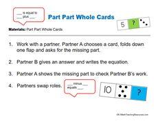 Part part whole cards/fact fluency/1st Grade Math Centers