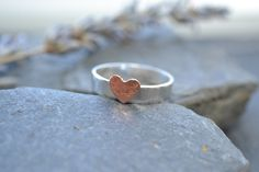 Sterling silver band with copper hammered heart £18.00