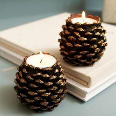 cones de pin, créations diy en cones, bougeoirs à faire soi-même