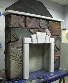 Styrofoam Fireplace << maybe something like this, but a little smaller? Theatre Props, Stage Props, Stage Set Design, Set Design Theatre, Christmas Fireplace, Faux Fireplace, Prop Making, Making Ideas, Scenic Design