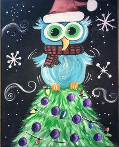 Owl On A Christmas Tree - Tracie's Acrylic Canvas Tutorials