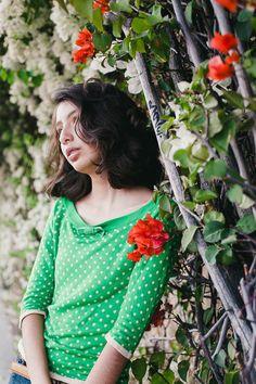 Green, polkadot top, 50's inspired, bright green top / A Modern Romance Photography