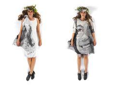 Rundholz Spring Summer 2015 white grey graphic dresses