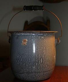 Vintage Gray Graniteware Bucket / Pail by PastClassics on Etsy