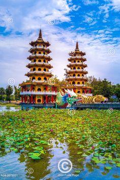 Taiwan, Kaohsiung City, Tsoying District, Lotus Pond, Dragon and Tiger Pagodas