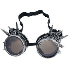 """Occhiali """"Spiked Cyber Google"""" del brand #Alcatraz in stile Cyber con borchie e due paia di lenti tonde disponibili. Un paio di lenti trasparenti, un paio di lenti scure."""