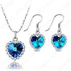 18k White Gold Plated Titanic Heart Of Ocean Swarovski Crystal Necklace Jewelry Sets S001W1