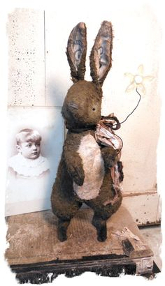 Antique Style ★ Vintage Postcard Rabbit w Flower Choco Cream Hare★whendi Bears | eBay