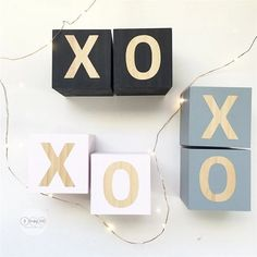 Wooden Blocks With Letters - Georgie Scott Christmas Birthday, Kids Christmas, Birthday Gifts, Wooden Cubes, Wooden Blocks, Cube Decor, Wooden Alphabet Letters, Baby Name Blocks, Playroom Decor