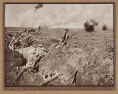 A wave of Infantry going over the top to resist a counter attack, Zonnebeke, 1914-1918