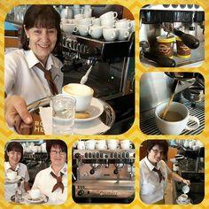 Unsere nigelnagelneue Siebträgermaschine in der 8.-Mai-Straße entführt Dich in den 7. Kaffeehimmel :-)  Gerti, Melitta und Andrea freuen sich auf Dich!