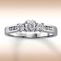 14K White Gold 1/2 Carat t.w. Three-Stone Diamond Ring
