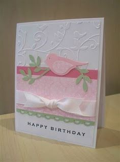 Stamps: It's Your Birthday  Card Stock: White, Certainly Celery, Rose Romance, SU pattern paper  Supplies: Ribbon, 2 Step Bird Punch, Cuttlebug, Birds & Swirls Embossing Folder, Scallop Trim Border Punch, Stamp-a-ma-jig, SU Marker- for the bird's eye, 2 Way Glue Pen- for the branch w/ leaves