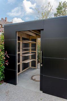 "Designer garden house ""black box"" in Munich by design @ garden - Augsburg, . Backyard Sheds, Backyard Playground, Outdoor Sheds, Backyard Landscaping, Black Box, Black Shed, House Painting Tips, Shed Storage, Storage Ideas"