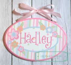 Here is the perfect heirloom quality hand painted sign to hang your little ones room, or the absolute perfect, one-of-a-kind shower gift for the new baby coming into the world.  This plaque is designed to coordinate with the Sophia nursery set. Any name can be added. Just let me know the name you would like added and where in the notes to seller section of checkout. It measures 6x10 and comes with an attached coordinating ribbon for hanging. Each sign is hand painted to order, so please see…