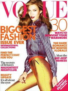 Karlie Kloss graces the September 2012 cover of Vogue UK. Photographed by Nick Knight.