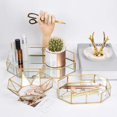 Exquisite Style Gold & Glass Nordic Storage Trays Retro Art Deco Themed Brass Makeup Storage Golden Geometric Glass Trays – Famous Last Words Organizer Box, Make Up Organizer, Online Organizer, Organiser, Makeup Storage Trays, Jewelry Organization, Perfume Storage, Vanity Organization, Copper Glass