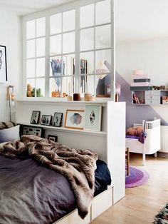 """Home """"Alone"""": Small Space Hacks for Creating Privacy At Home (Apartment Therapy Main) Apartment Therapy, One Room Apartment, Apartment Living, Apartment Interior, Apartment Design, Room Interior, Family Apartment, Interior Windows, Apartment Layout"""