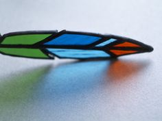 Green glass feather 7 inches by caracoja on Etsy