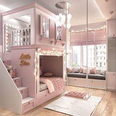 Kids Bedroom Designs, Room Design Bedroom, Home Room Design, Small Room Bedroom, Room Ideas Bedroom, Tiny Bedrooms, Princess Bedrooms, Pink Princess Room, Bed For Girls Room