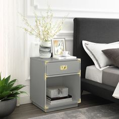 Inspired Home Light Grey Sidetable 1 Drawer, Open Storage High Gloss Finish Trendy Furniture, Home Office Furniture, Living Room Furniture, Modern Side Table, Fashion Room, Inspired Homes, Home Decor Styles, Nightstand, Bedside Tables