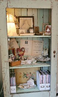 Fabulous chippy shelf made out of an old door ~ I love it!