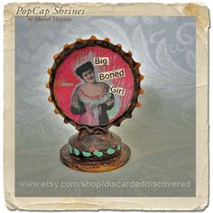 bottle cap// assemblage collage bottlecap by DiscardedDiscovered, $16.50