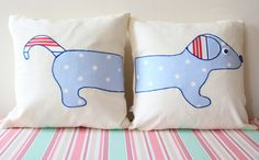 Appliqued Sausage Dog Cushion Covers by MissSDesigns on Etsy, £20.00