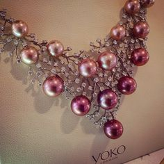 @yoko_london #necklace: the lustrous, naturally colored pearls in graduated pink ombré; or the airy, diamond-sprinkled fretwork they're hanging in.