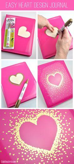 DIY Schulsachen selber basteln - Simples Herzmuster für Notizbücher