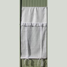 Tie up Curtain, White Linen Curtain, French Monogrammed Curtain, Shabby, Linen Drapes,  French Door Panel, Cottage Decor