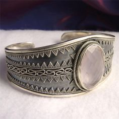 925 Stg Silver~ Superb Filigree Granulation SilverSari Cuff Bangle ~ ROSE QUARTZ #Bangle #Bangles