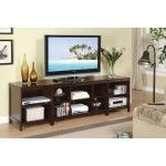 POUNDEX Furniture - 3 Piece Cappuccino Finish Contemporary Tv Stand With Shelves - 47F4438