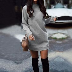 Crew Neck Patchwork Rib Knit Cuffs Plain Bodycon Dresses – zacoora Source by Dresses casual Sweater Outfits, Dress Outfits, Casual Dresses, Fashion Outfits, Fashion Trends, Sweater Dresses, Grey Sweater Dress, Long Dresses, Flower Dresses